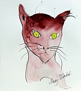 Pink Cat - Watercolor Painting - Andy Warhol