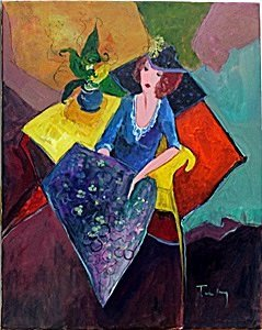 Seated Study - Oil Painting on Canvas - Tarkay