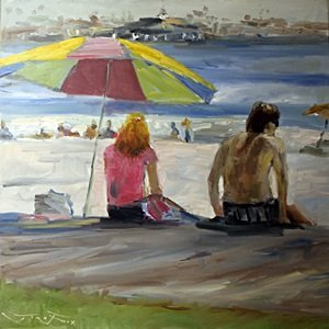 (Beach Scene) Original Oil Painting by Jorn Fox