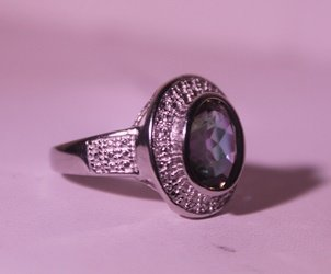 Exquisite Sterling Silver Ring with Lab Alexandrite - 2