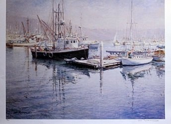 Lithograph - Fisherman's Bay - S. Yuen