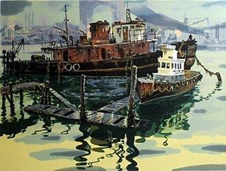 Serigraph San Francisco Dock