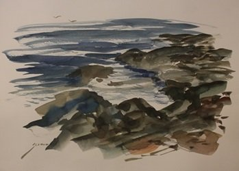 """Original Watercolor on Paper """"Close to the Coast"""" by"""