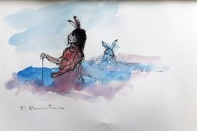 """""""two Warriors"""" Watercolor Painting After Frederic"""