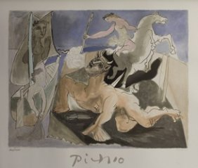 """Lithograph """"composition With Minotaur"""" By Pablo Picasso"""