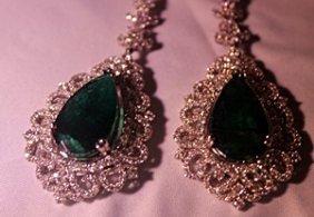 18k Whitegold Antique Style Diamond & Columbian Emerald