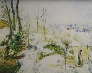 Lithograph Landscape Around Hunfleur Snow - Claude