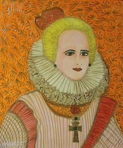 """Original Oil On Panel """"maria Anna Of Spain"""" By William"""
