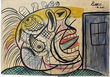 Oil/Pastel Painting on Paper by Pablo Picasso