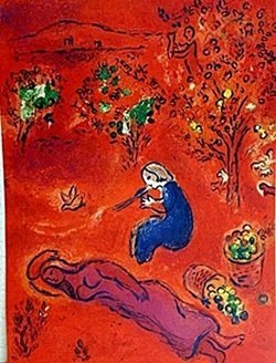 Lithograph By Marc Chagall- Noon, In Summer