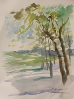 """Original Watercolor On Paper """"summers End"""" By Michael"""