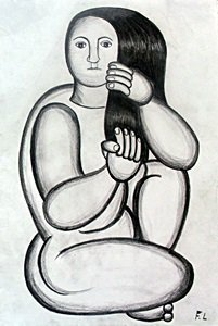 Woman Nude - Drawing On Paper - F. Leger