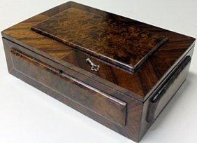 Hand Carved Antique Wooden Lockbox W/ Key