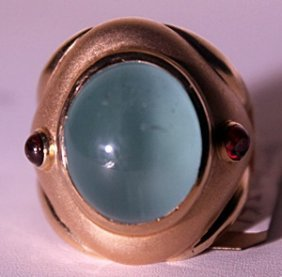 18kt Yellowgold Aqua And Ruby Rhodolite Ring