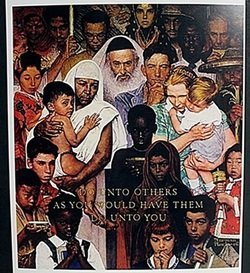 """Lithograph """"the Golden Rule"""" After Norman Rockwell"""