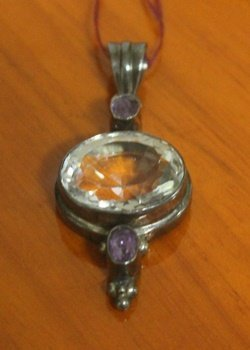 Antique Pendant With Kunzite And Amethyst