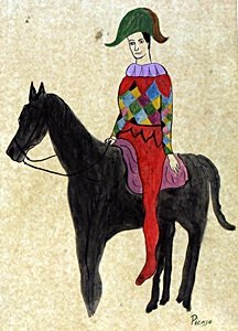 Harlequin A Cheval 1904 - Picasso