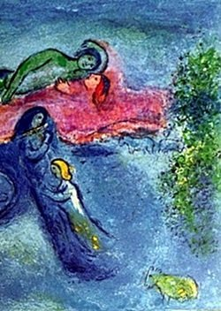 Lithograph by MARC CHAGALL- Death of Dorcon Part 1