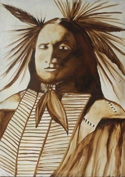 """""""Sioux Indian"""" Original Oil Painting by William Verdult"""