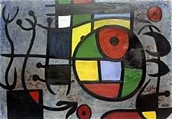 Saliendo Al Mar - Oil Painting on Paper - Joan Miro