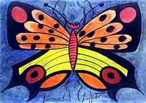 Butterfly III - Pastel Drawing - Bernard Buffet