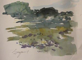 "Original Watercolor on Paper ""Empty Field"" by Michael"
