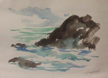 "Original Watercolor on Paper ""Low Tide"" by Michael"