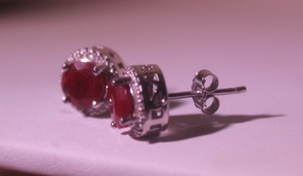 Exquisite Sterling Silver Earrings with Pigeon Blood