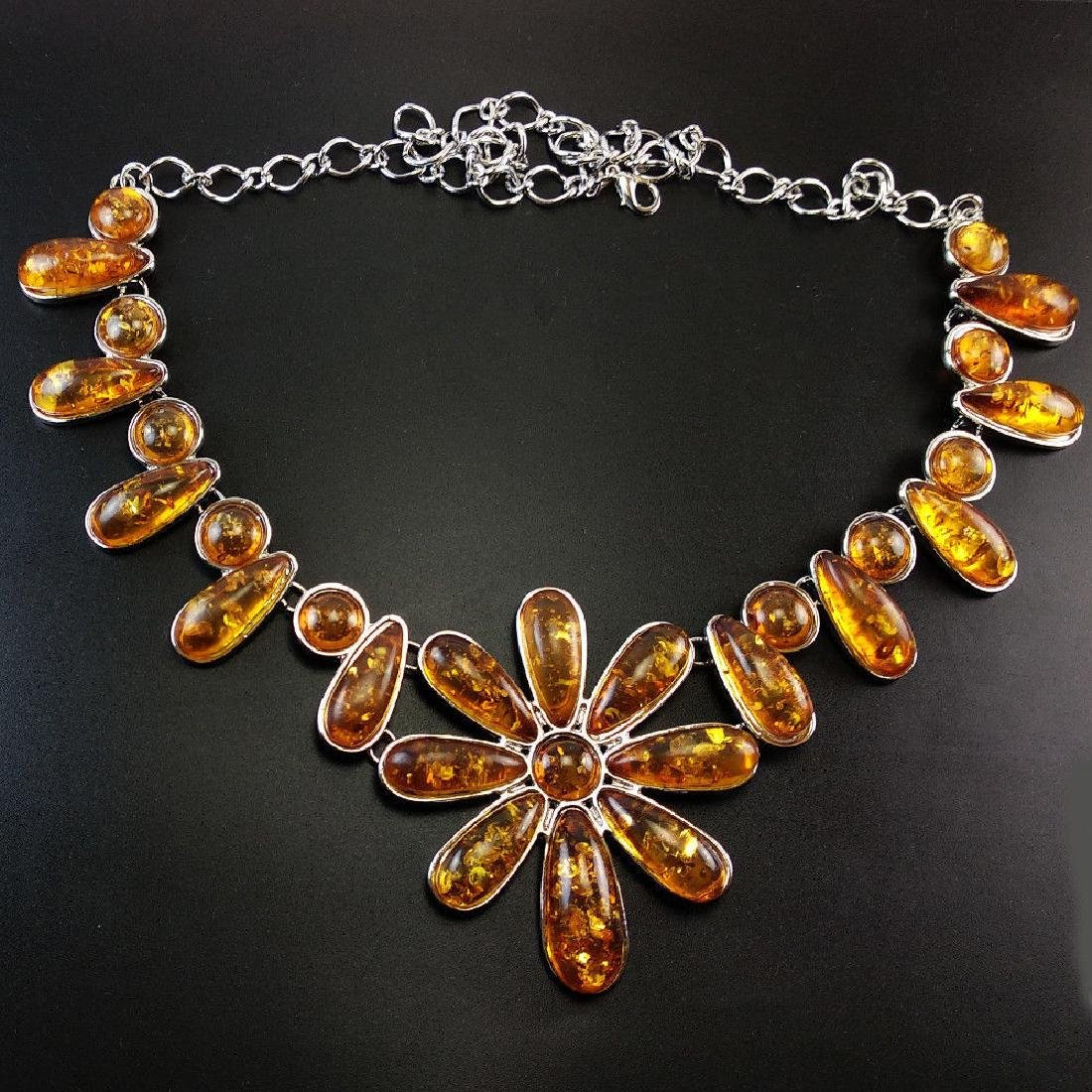BALTIC AMBER GEMSTONE SILVER PLATED HANDMADE NECKLACE - 2