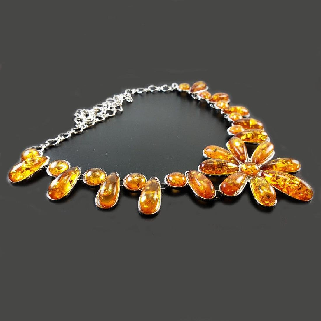 BALTIC AMBER GEMSTONE SILVER PLATED HANDMADE NECKLACE - 3