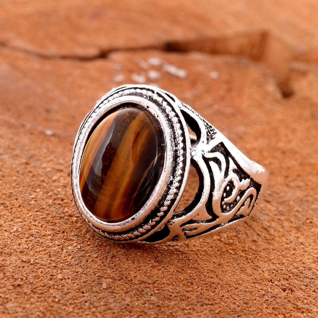 TIGER'S EYE GEMSTONE SILVER PLATED RING SIZE 8 - 2