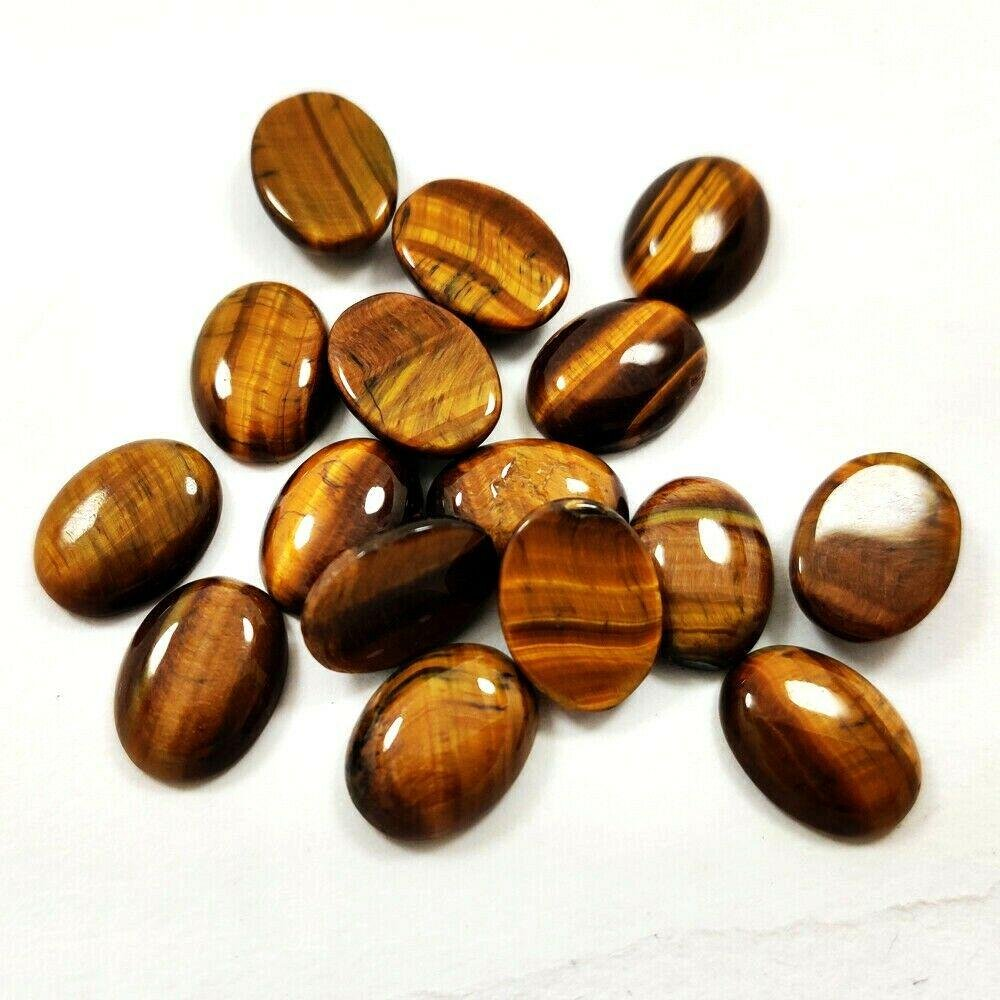 Natural Tiger's Eye 12x16 MM Oval Cabochon Loose