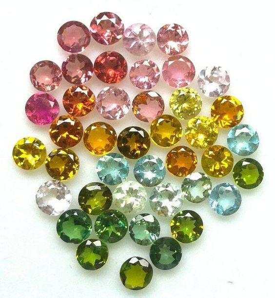 Natural Multi Color Tourmaline 3 MM Round Cut Loose Lot