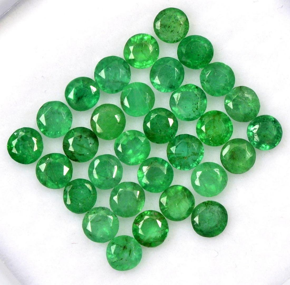 Natural Emerald 3 MM Round Cut Green Loose Gemstone Lot
