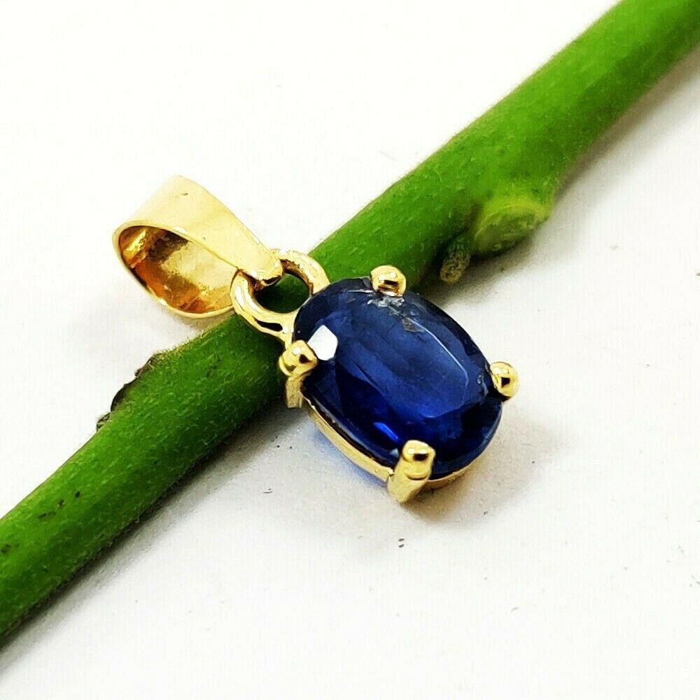 NATURAL BLUE SAPPHIRE 14 KT YELLOW GOLD HANDMADE