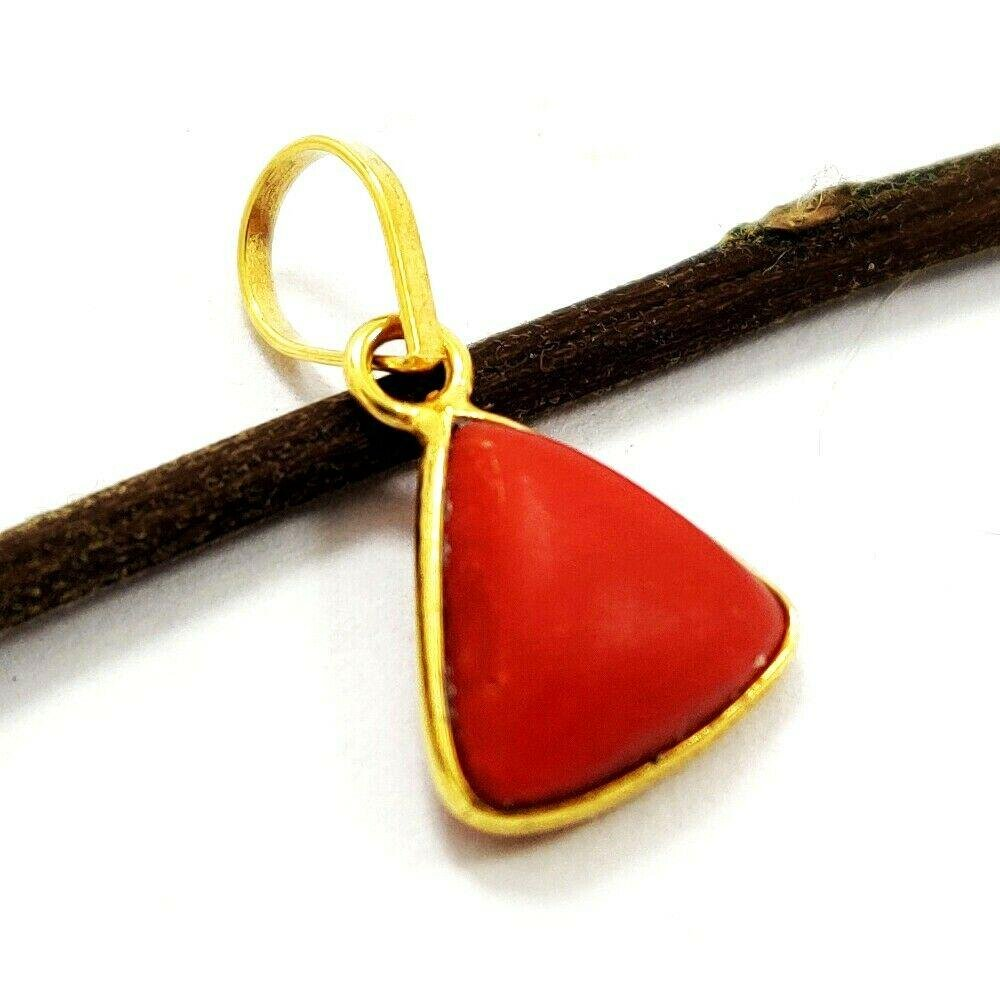 NATURAL RED CORAL 14 KT YELLOW GOLD HANDMADE PENDANT