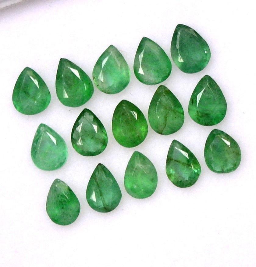 Natural Emerald 3x4 MM Pear Cut Green Loose Gemstone