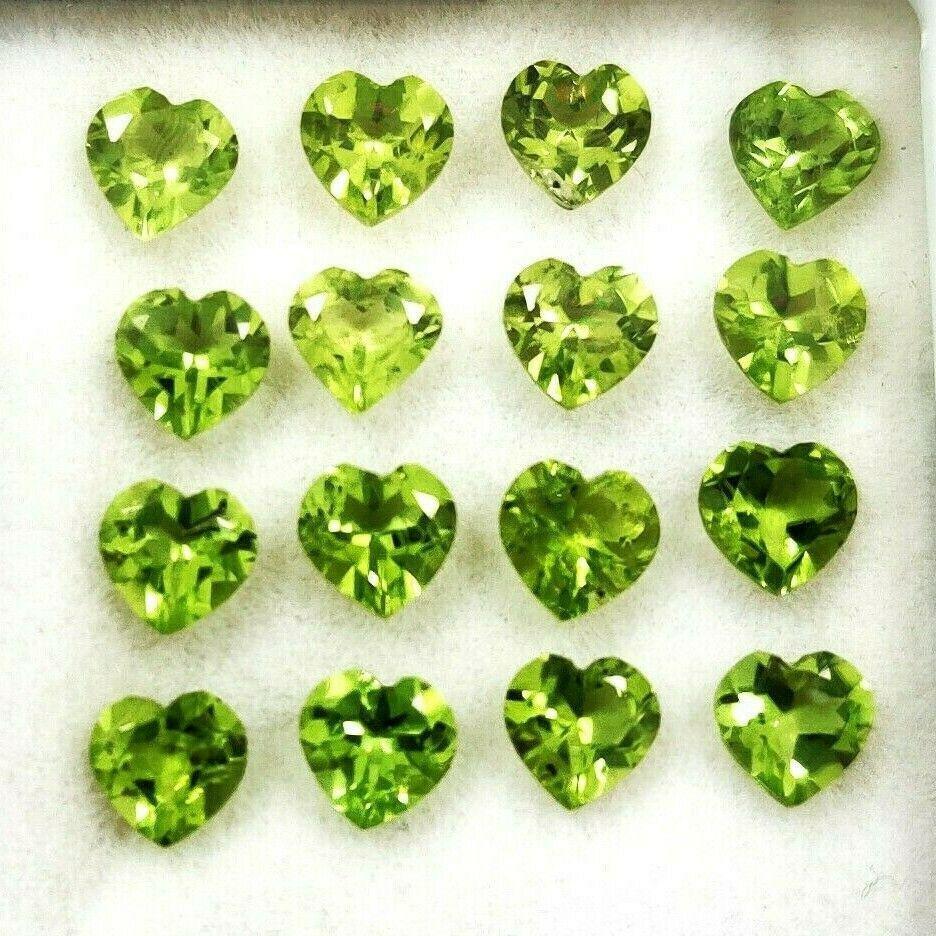 Natural Green Peridot 5x5 MM Heart Cut Loose Gemstone