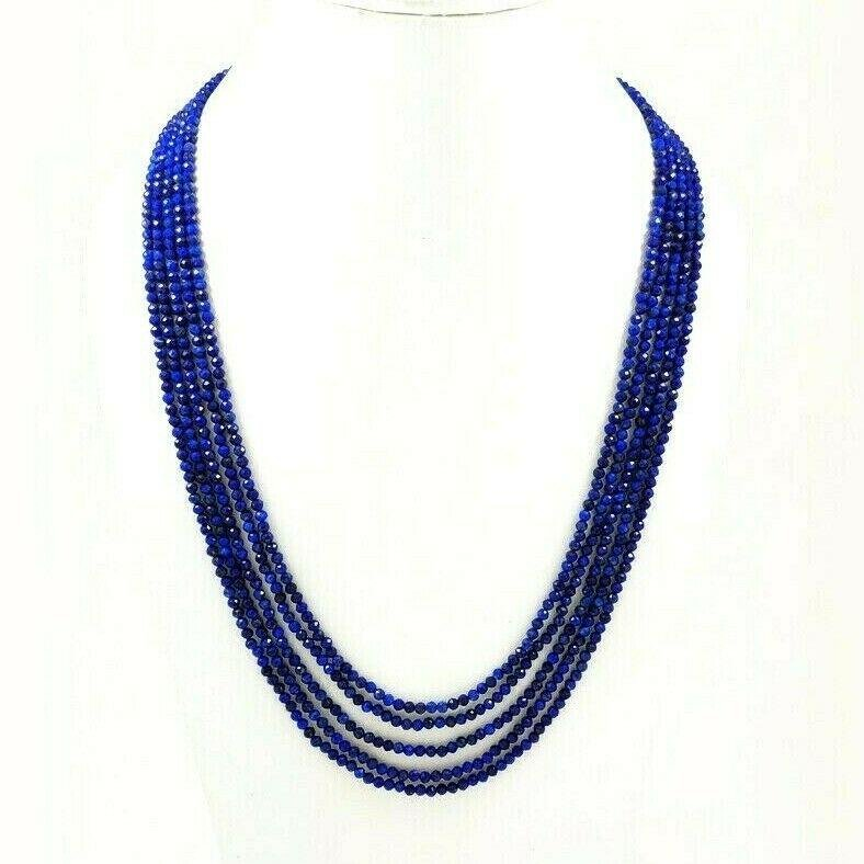 LAPIS LAZULI FACETED BEADS NECKLACE 175 CT, 5 STRAND