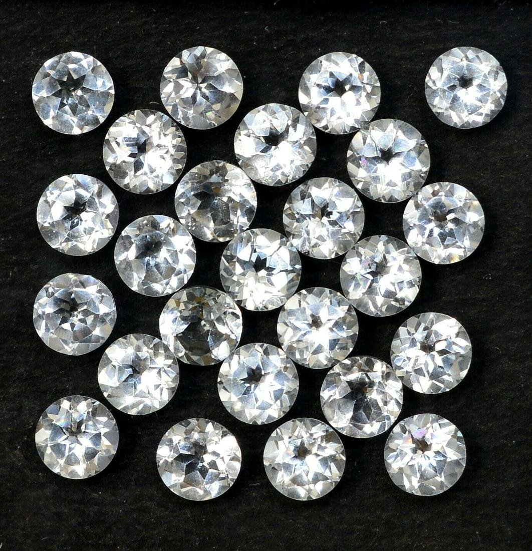 Natural White Topaz 6 MM Round Cut Loose Gemstone Lot