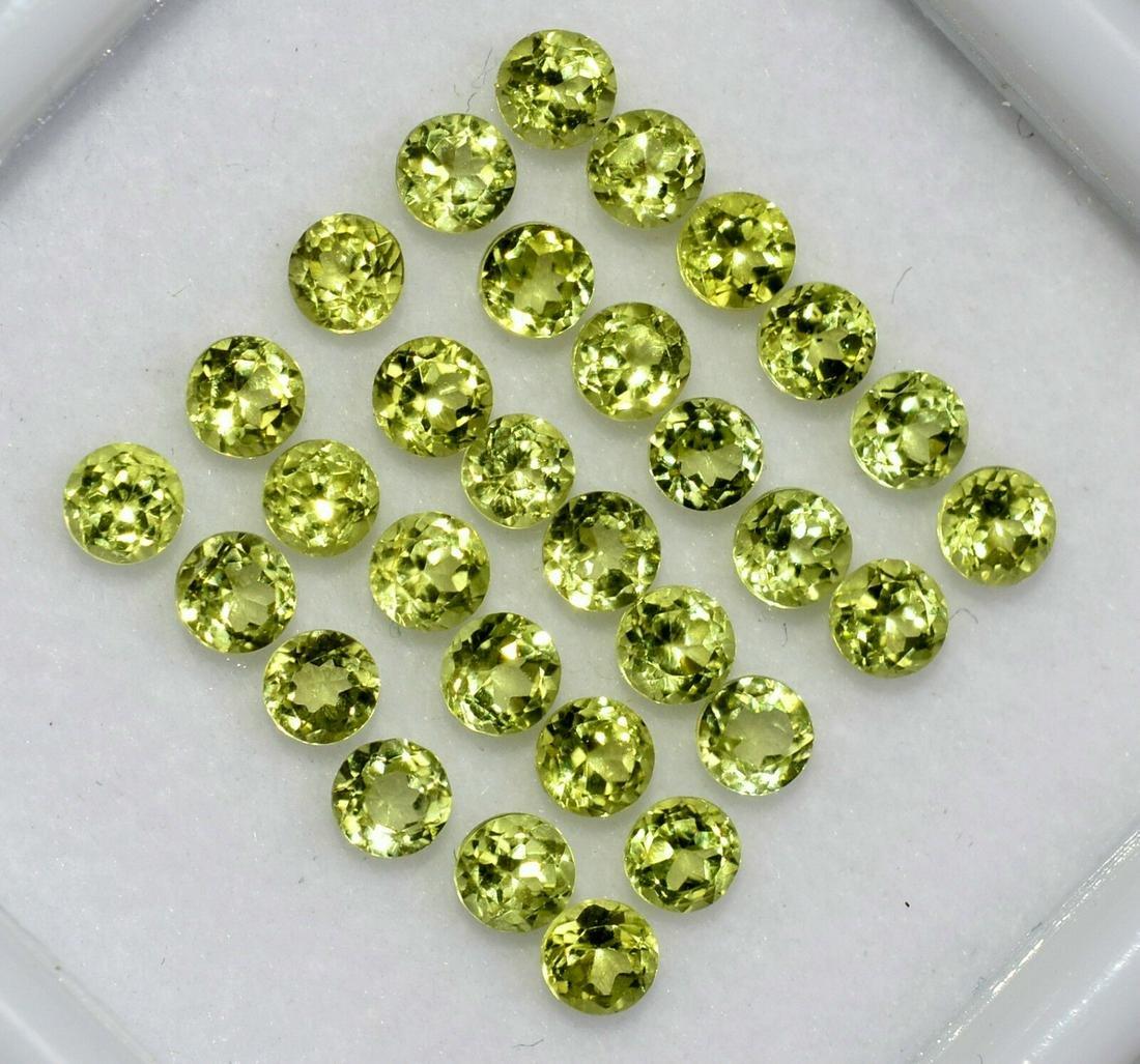 Natural Peridot 2 MM Round Cut Gemstone 2500 Pieces Lot
