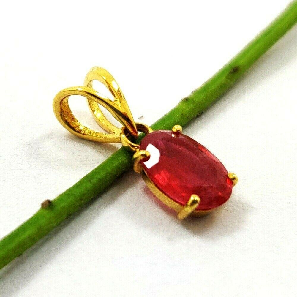 NATURAL RED RUBY GEMSTONE 14 KT YELLOW GOLD HANDMADE