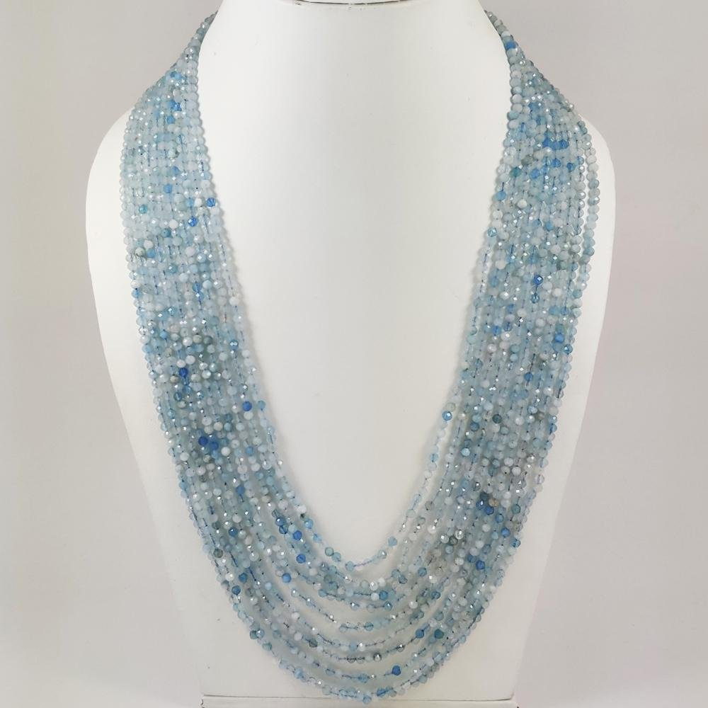 AQUAMARINE FACETED BEADS NECKLACE 316 CT, 10 STRAND