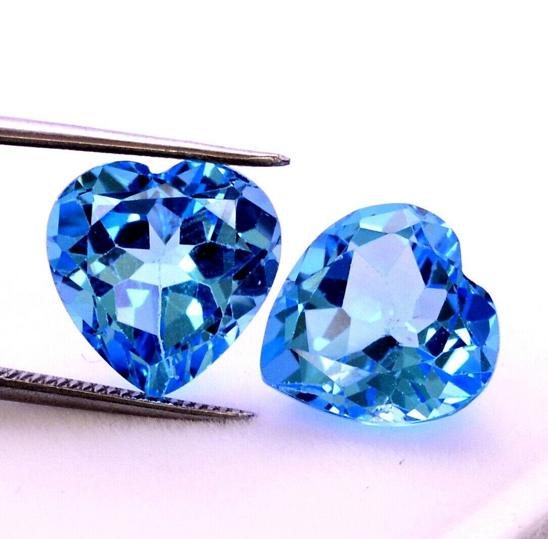 Natural Blue Topaz 5x5 MM Heart Cut Loose Gemstone Lot