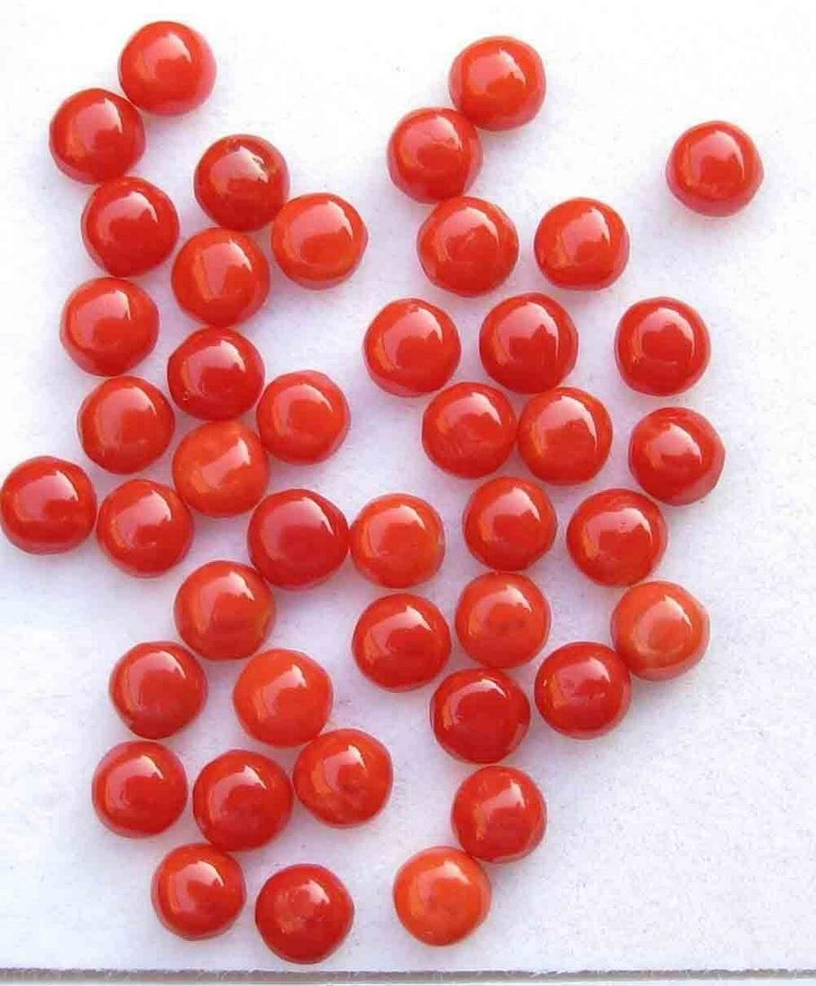 Natural Red Coral 2 MM Round Cabochon Loose Gemstone