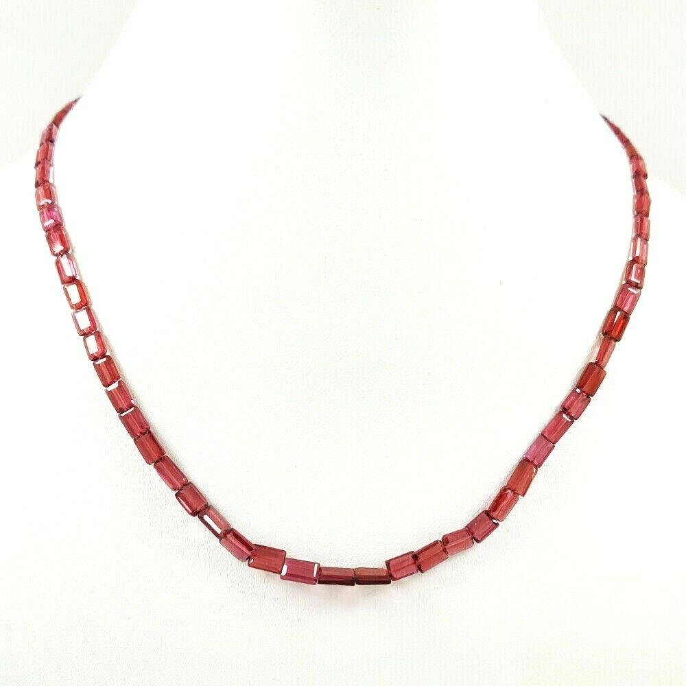 GARNET FACETED OCTAGON DRILLED NECKLACE