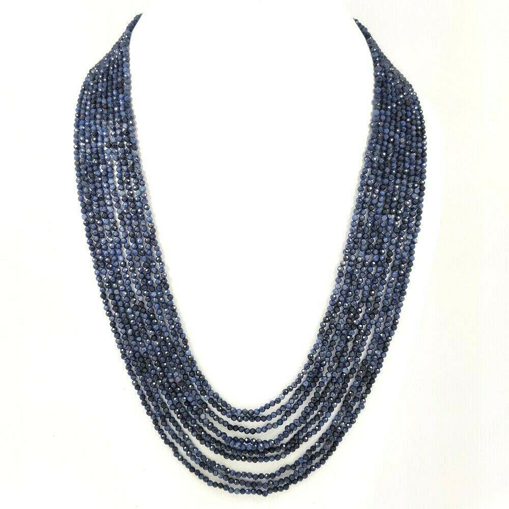 BLUE SAPPHIRE FACETED BEADS NECKLACE 295 CT, 10 STRAND