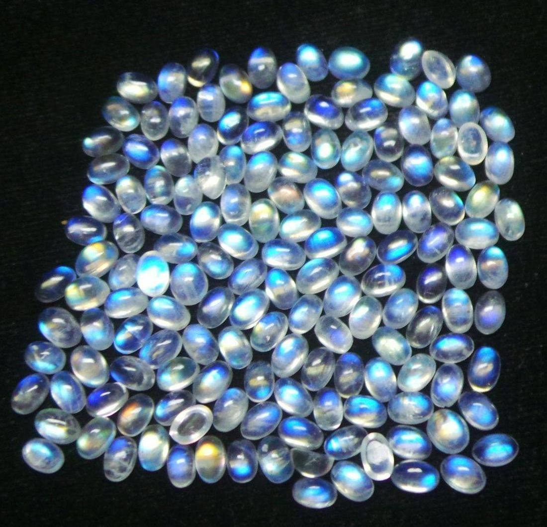Blue Fire Rainbow Moonstone 6x4 MM Oval Cabochon Loose