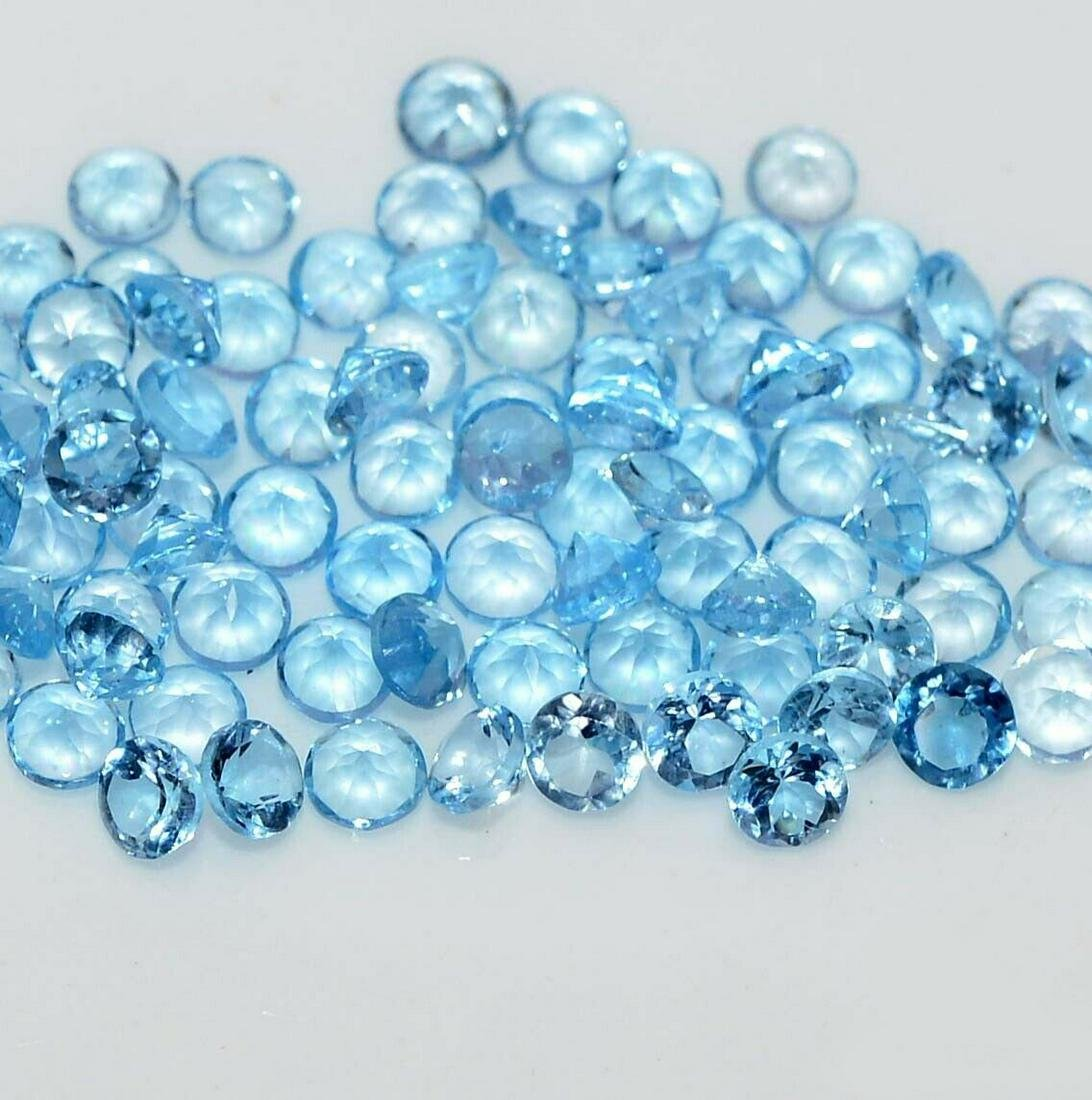 Natural Blue Topaz 3 MM Round Cut Loose Gemstone Lot