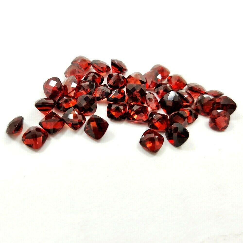 Natural Red Garnet 6x6 MM Cushion Checker Cut Loose